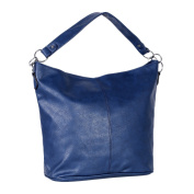 Dondon Women's Shoulder Bag Synthetic Leather Hobo Bag with Zipper Dark Blue 41 x 31 x 14 cm