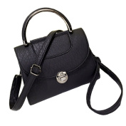 Womens Elegant Retro PU Leather Mini Crossbody Purse Shoulder Bag Dull Polish Tote Handbag Black