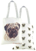 Pug Dog Gift - Unique Waggy Dogz Tote Bag. Quality 100% cotton fabric printed front and back.