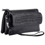 Wocharm Soft Leather Women's Large Capacity Leather handbags Wristlet Wallet Clutch With Shoulder Strap Wrist Strap Fit IPhone 6/7 Plus