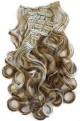 PRETTYSHOP XXL 8 pcs full Head Set Clip In Hair Extensions Hairpiece wavy Heat-Resisting 60cm dark blond mix CES14a-1