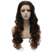 Iwona Long Wavy Heat Resistant Fibre Synthetic Lace Front Auburn Tip Brown Two Tone Ombre Natural Wig