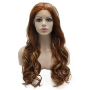 Iwona Long Wavy Heat Resistant Fibre Synthetic Lace Front Highlight Auburn Natural Wig