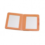 Rnow Deluxe PU Leather Folio Book Style Double Sided Compact Pocket Size Mirrors Orange