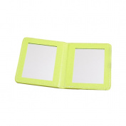 Rnow Deluxe PU Leather Folio Book Style Double Sided Compact Pocket Size Mirrors Yellow