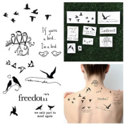 Tattify Quote Temporary Tattoos - Bird is the Word (Complete Set of 18 Tattoos - 2 of each Style) - Individual Styles Available - High Quality and Fashionable Temporary Tattoos