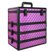 HST 4 in 1 Interchangeable Removable Trays Makeup Cosmetic Storage Organiser Case Vanity Box Makeup Artist Lockable Train Case Diamond Surface