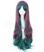 Women's Burgundy Green Multicoloured Animotion Fancy Dress Long Curly Cosplay Wigs with Cap
