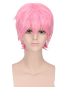 Men's Pink Animotion Fancy Dress Short Cosplay Wigs with Cap