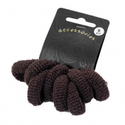 Bling Online 8pc Ponio Hair Bands. Approx 3cm, Centre 1cm. Brown