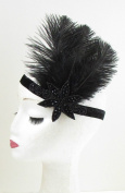 Black Ostrich Feather Headpiece Great Gatsby Flapper Headband 1920s Vintage 907 *EXCLUSIVELY SOLD BY STARCROSSED BEAUTY*
