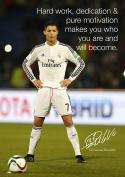 Cristiano Ronaldo # 82 - motivational quotation - signed (copy) A3 poster - world player of the year - football - Real Madrid logo background - A3 poster - print - picture