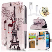Galaxy S7 Relief Drawing Pattern, Vandot Magnetic Closure PU Leather Flip Stand Wallet Holster with [9 Card Holder Slots] Protective Case for Samsung Galaxy S7 SM-G930F- Eiffel Tower Love + Bling Anti Dust Plug + Micro USB Charging Data Cable