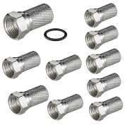 Maxima Trade 10 x F-Plug 7.2 mm with Rubber Seal Gasket (O-Ring). Suitable for Coaxial Cable