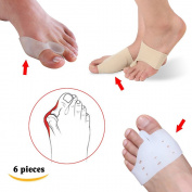 Sumifun - 6 Piece of 100% All Gel Bunion Splint Big Toe Separator, Overlapping Spreader Corrector, Bunion Adjuster Hallux Valgus Alignment and Bunion Pain Therapeutic Relief Relaxing for Healthy Feet