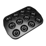 qobobo® 12 Cup Donuts or Cookies Teflon Non Stick Carbon steel Oven Baking Tray, Cup diameter 4.9cm