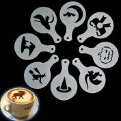 Yongse 8Pcs Halloween Cappuccino Latte Art Coffee Stencils Duster Cake Icing Spray