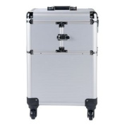 Brand New Pretty Pink Large Silver Trolley Vanity Case.