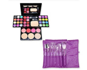 DSstyles 7 Pcs Professional Makeup Kabuki Brushes Kit - Purple and 39 Colours All in One Makeup Palette Kit with Eyeshadow, Face Powder and Blush