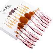 Nestling®10 Pieces Oval Makeup Brush Set Professional Foundation Concealer Blending Blush Liquid Powder Cream Cosmetics Brushes, Toothbrush Curve Makeup Tools for Face and Eyes