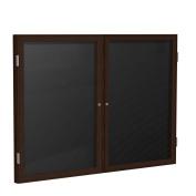 90cm x 120cm 2-Door Wood Frame Walnut Finish Enclosed Flannel Letter Board, Black