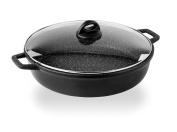 BARAZZONI The Special Cooking Saucepan with Lid, Cast Aluminium, black, 37.3 x 45.6 x 8.5 cm