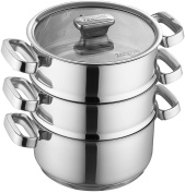 Zanussi Positano Stainless Steel 3-Tier Steamer with Glass Lid, 20 x 10 cm / 7.87 x 3.93 inch
