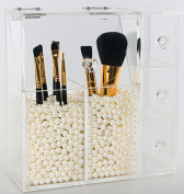 PuTwo Makeup Organiser Birthday Gifts for Her With 2 Make Up Brush Holders and 3 Drawers All In One Case with Free White Pearl