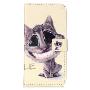 LG G5 Case, LG G5 Flip Case, ISAKEN PU Leather Cover for LG G5 - Fashion Embossed Pattern Design Bookstyle Cell Phone Case Luxury Pu Leather Wallet Magnetic Design Mobile Cover Protect Skin Stand Case Pouch with Card Holder - black cartoon cat