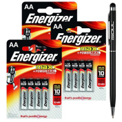 Energizer LR6 AA Max (E91) MN1500 Size Power Seal Battery 1.5 V Everyday Alkaline General Purpose Long-lasting Genuine Batteries + 1x iSOUL Black Stylus touch Ball Pen