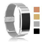 Fitbit Charge 2 Replacement Watchband Accessory, iFeeker Milanese Loop Stainless Steel Adjustable Smart Watch Bracelet Strap Band for Fitbit Charge 2 Heart Rate and Fitness Wrist Band with Metal Stainless Steel Connector Designed