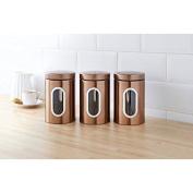 SET OF 3 CONTEMPORARY COPPER TEA COFFEE SUGAR JARS TINS KITCHEN STORAGE JARS