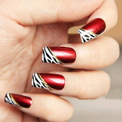 YUNAI 24 PCS Long Full Cover False Nails - French Style Ellipse Red Wine Oblique Leopard Fake Nails