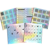 BMC 5 Sheet Holographic Nail Art Vinyl Sticker Guides - Beach Collection