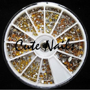 Approx. 1200 rhinestones Gold Mix in a Wheel - Cute Nails