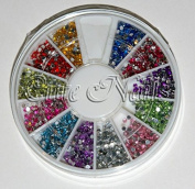 Rhinestone Wheel Round Filled With Approx. 2000 Stones Approx. 1.2 mm Cute Nails