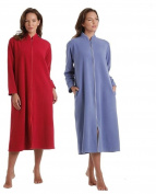 Ladies Soft feel dressing gown Sizes UK 10 to 24 robe wrap zip Front Pockets