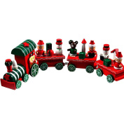 Christmas Toy Train, Xjp 4 Pcs Wooden Train Festival Gifts for Kids
