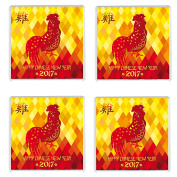 FOUR Chinese New Year 2017 Year of the Rooster Drinks Coaster Chinese New Year Gift Idea for less than the cost of some cards!