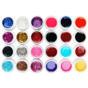 Coscelia 24 Colours Glitter Colour UV Nail Gel Polish Nail Gel Art Decorations Tools