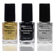 Stampinglack Set 3X12ML Gold/Black/Silver Stamping Nail Polish RM Beauty Nails