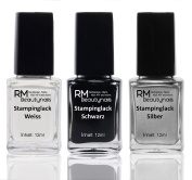 Stampinglack Set 3X12ML White/Black/Silver Stamping Nail Polish RM Beauty Nails