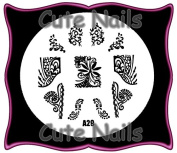 Stampingschablone A29 - French - Ornamental Tribal Cute Nails