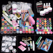 JACKY 21 in 1 Professional Acrylic Glitter Powder French Nail Art Deco Tips Set Kit