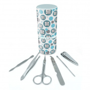 Manicure Pedicure Grooming Beauty Personal Care Travel Kit (Tweezers,Nail File,Nail Clipper,Scissors) - Live Laugh Love Chevrons Blue