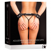 Ouch! Black Adjustable Leather Handcuffs