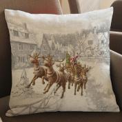 45x45cm Square Pillowcase,Kingko® Christmas White World Scene Dyeing Sofa Bed Festival Home Decor Pillow Case Car Cushion Cover