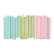 IKEA Set of Sötvatten 100 Straws Drinking Straws Mixed with Wide 8 mm Diameter - Light Pink, Green, Light Blue