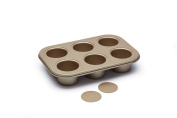 Paul Hollywood Kitchen Craft 6 Hole Non-Stick Deep Pie/ Tart Tin with Loose bases 27x18.5cm + Free Pork Pie Seasoning 100g