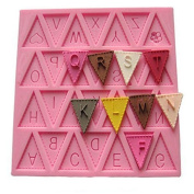 Vicloon Letter Flag Bunting Silicone Alphabet Mould Fondant Chocolate Cake Mould Decorating Moulds, Pink